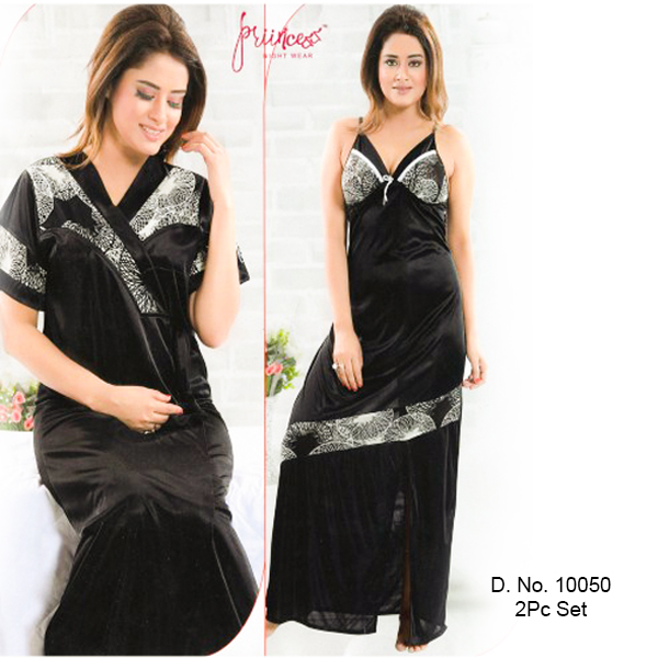 Fashionable Two Part Nighty-10050-black